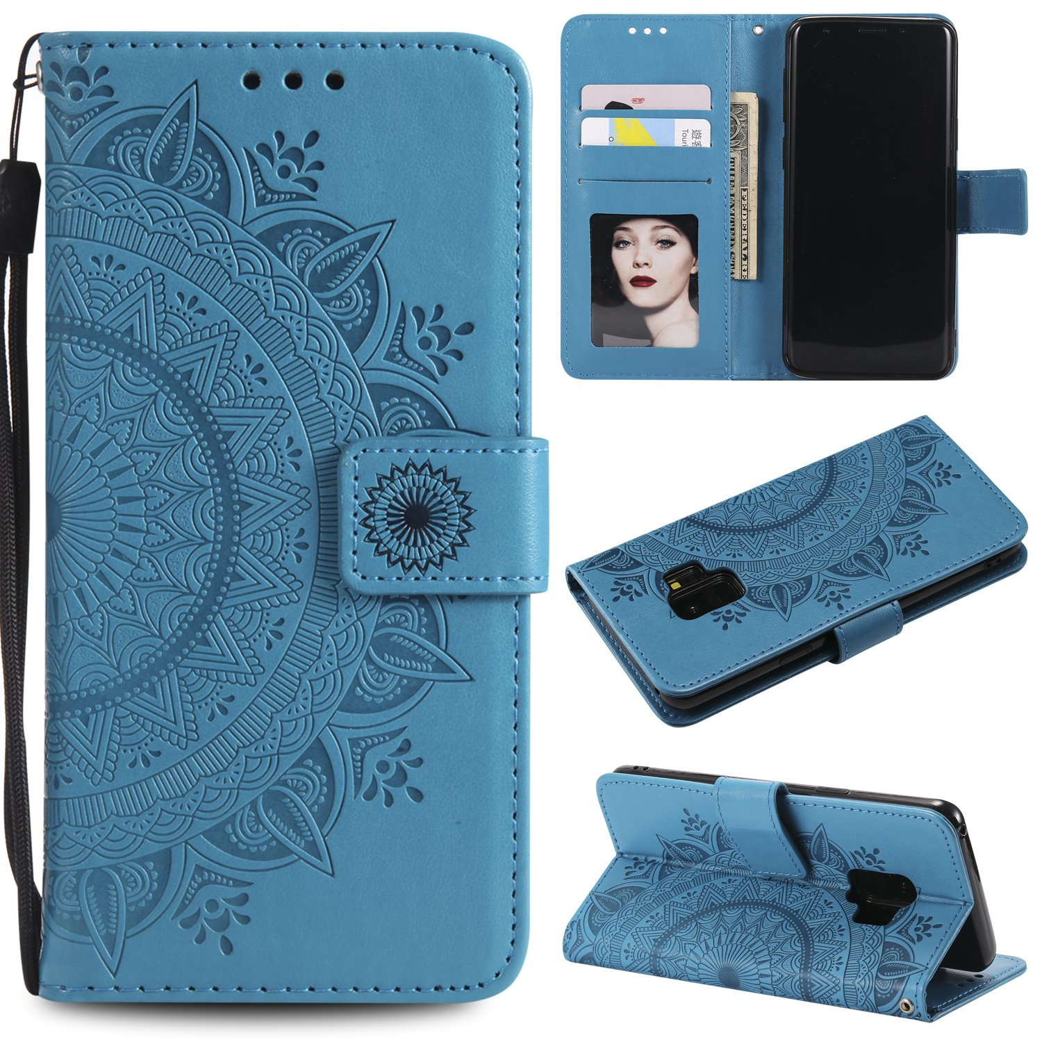 Galaxy S9 Floral Wallet Case,Galaxy S9 Strap Flip Case,Leecase Embossed Totem Flower Design Pu Leather Bookstyle Stand Flip Case for Samsung Galaxy S9-Blue
