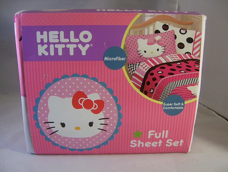 Hello Kitty Beautiful Dots Full Sheet Set Bedding, Pink
