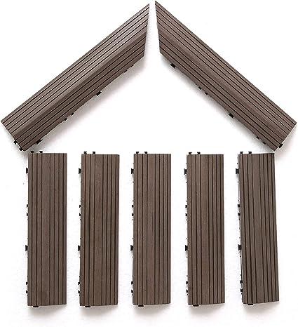 PANDAHOME Wood Plastic Composites 7 Pack Loop Ends Side