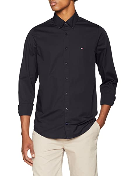 Core Stretch Slim Poplin Shirt, Camisa Hombre, Negro (Flag Black 083), XX-Large Tommy Hilfiger