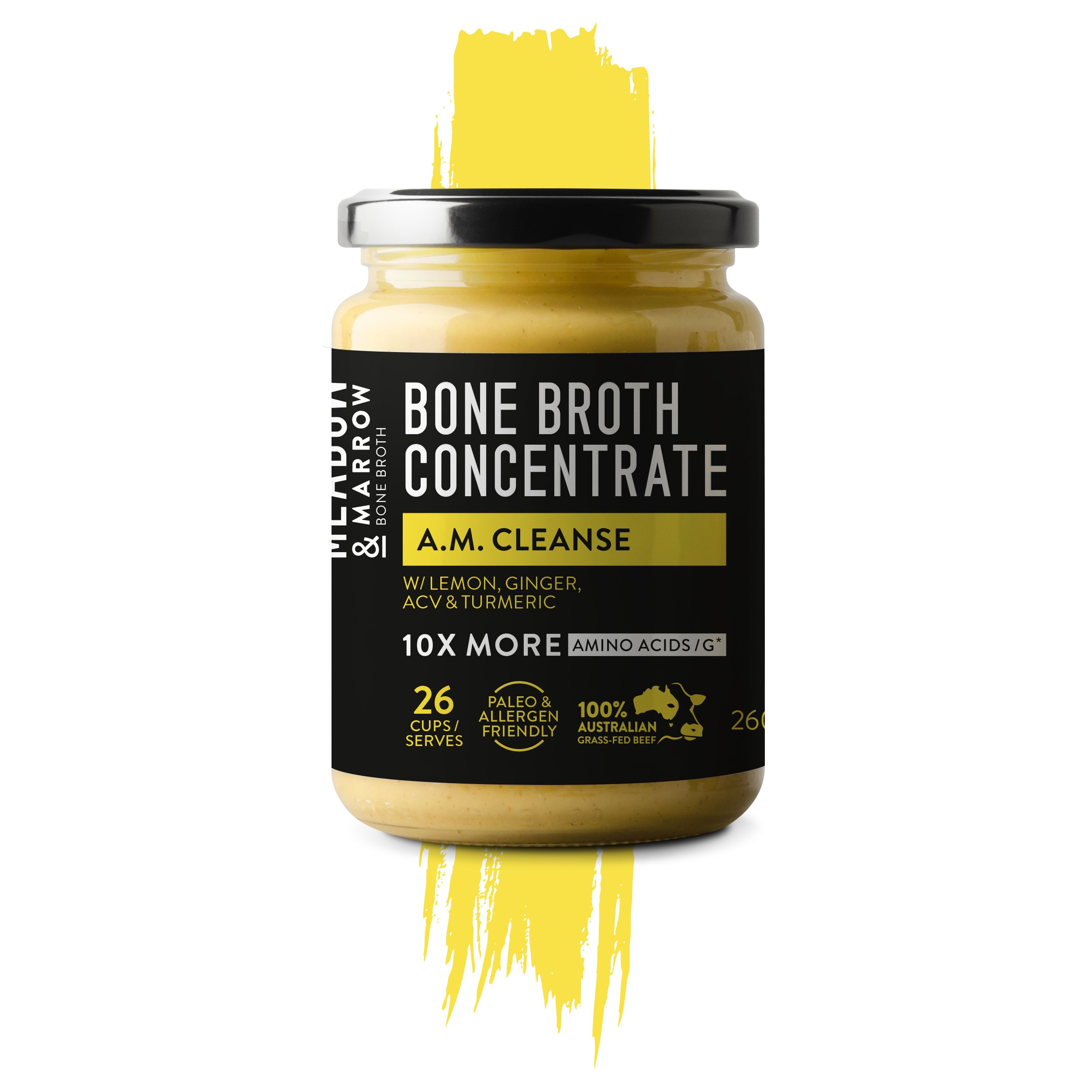 AM Cleanse - Performance Bone Broth Concentrate Range - 9.17oz - Cleanse: Detoxify: Boost Immune System with Superfoods - Lemon, ginger, organic apple cider vinegar & turmeric