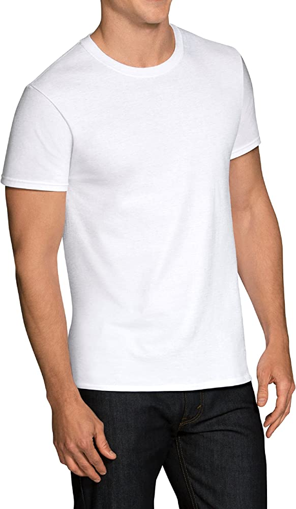Fruit of the Loom Men's Stay Tucked Crew T-Shirt, White 12 Pack, Large