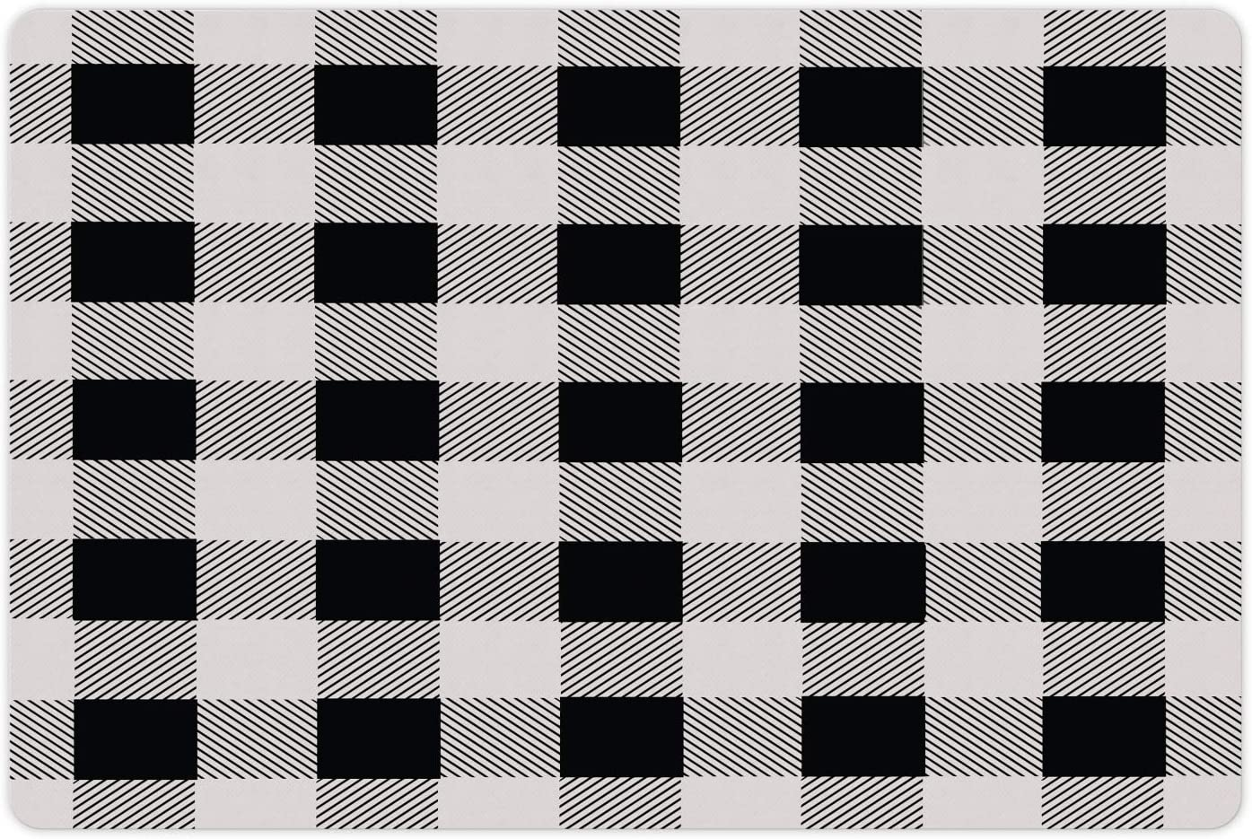 Lunarable Plaid Pet Mat for Food and Water, Monochrome Traditional Lumberjack Pattern Repating Checkered Squares Design, Non-Slip Rubber Mat for Dogs and Cats, 18