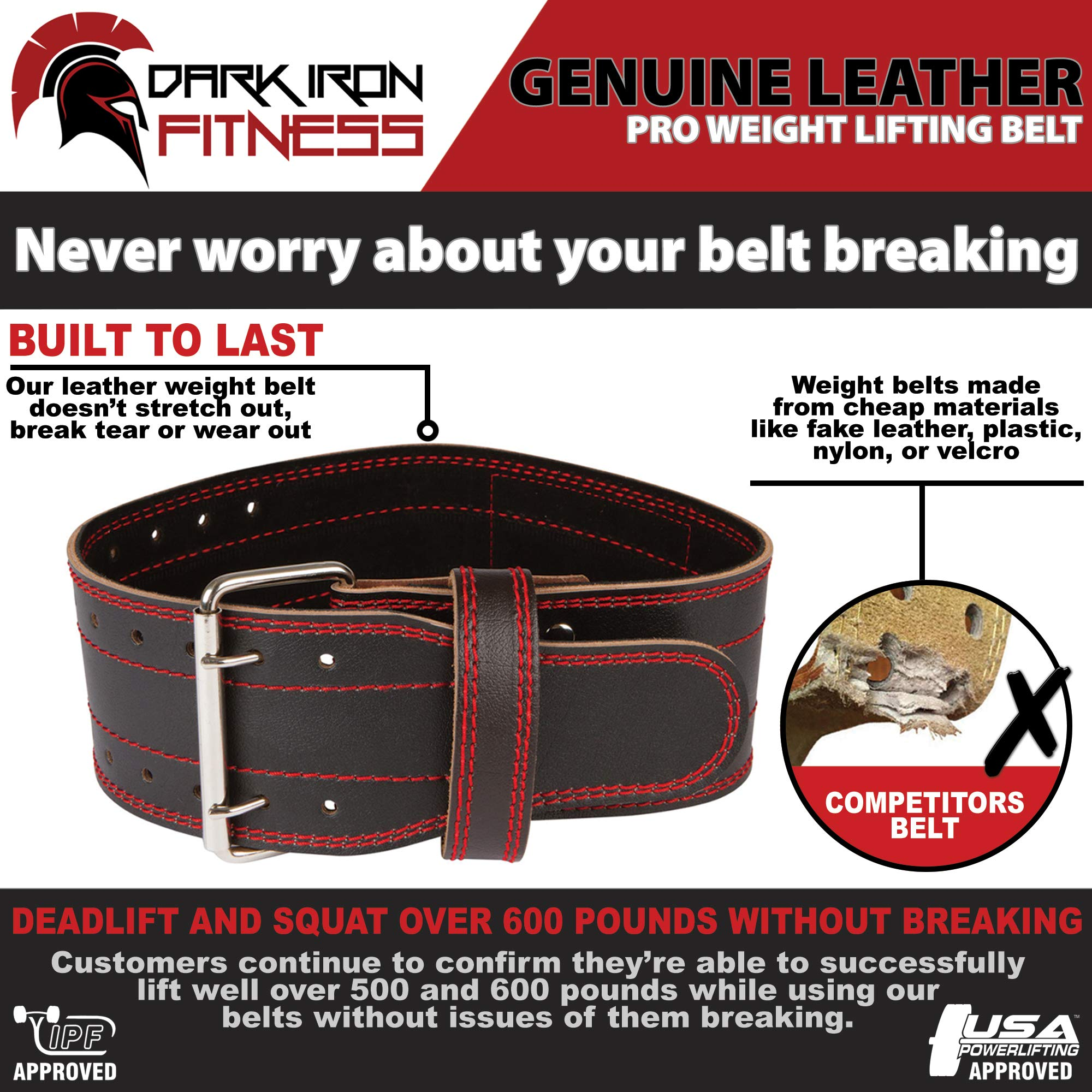 Small Lifting Leather Squatt Belt Weight Lifiting Belts for Back Fitness Belt Workot Belt Wheigt Belt Weight Lifting Belts Weighlifting Back Belt Fitness Belts Mens Weight Lifting Belt Lifting by Dark Iron Fitness (Image #3)