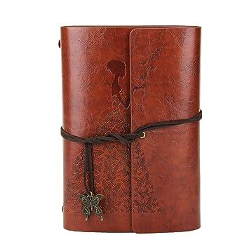 XIUJUAN Libreta Bonitas Hojas Blancas Cuaderno de Viaje Bloc Notas Cuero Vintage entre A6-A5