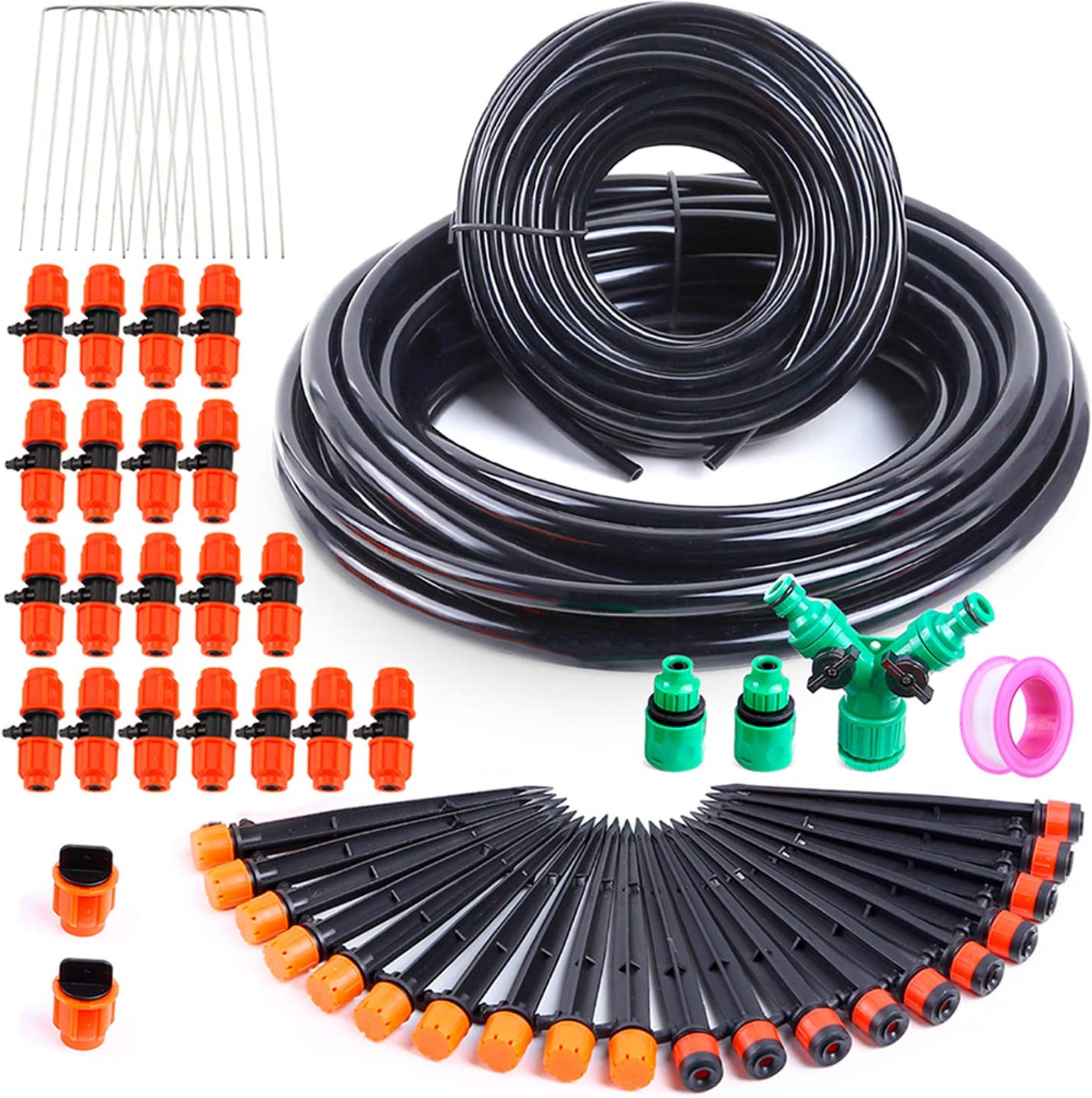 "Ohuhu Drip Irrigation Kit, Micro Plant Watering Irrigation System, Durable 2/5"" Main Tubing & 1/4"" Branch Tubing Hose 33 FT Each, 20 Drippers Emitters & 2-Way Valve, Automatic Irrigation Equipment Set"