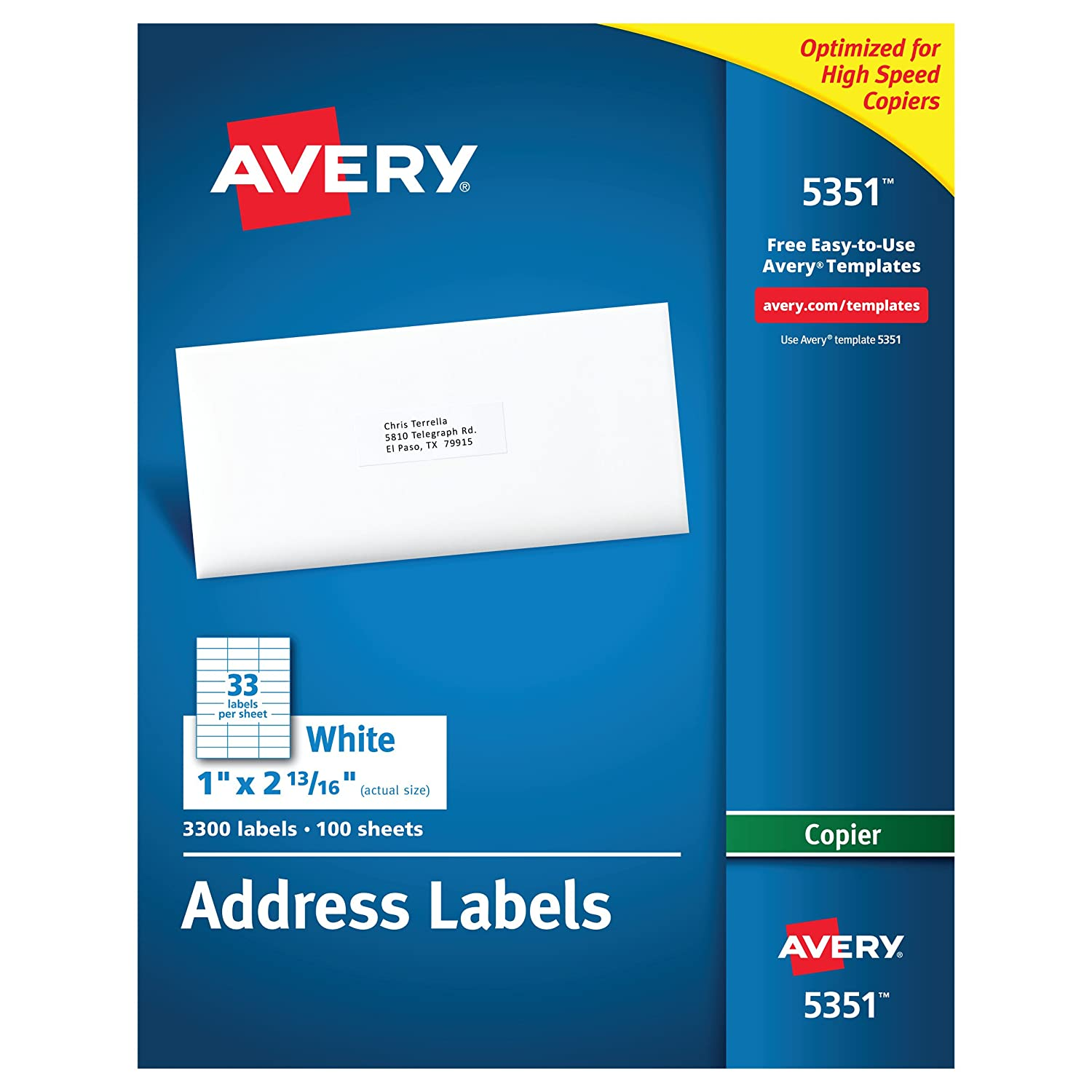 Amazon avery address labels for copiers 1 x 2 1316 box of amazon avery address labels for copiers 1 x 2 1316 box of 3 300 5351 office products saigontimesfo