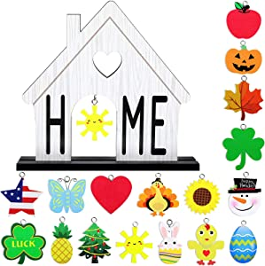 Home Interchangeable Decorative Sign Wooden Decorative Home Signs Interchangeable Table Centerpiece Blessed Table Centerpiece Wooden Plaque for Dinner Room Table Decor