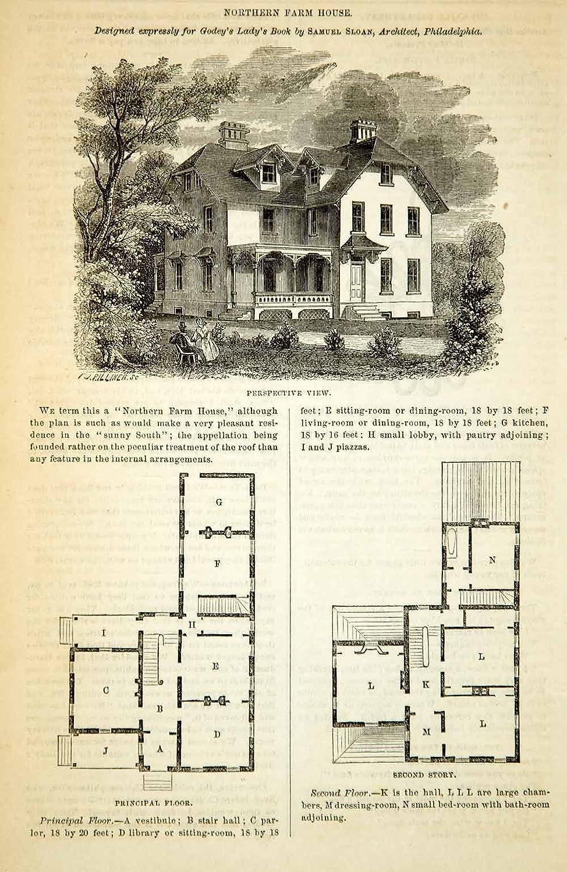 Amazon Com 1862 Wood Engraving Victorian Farm House Architecture Floor Plans Samuel Sloan Original In Text Wood Engraving Entertainment Collectibles