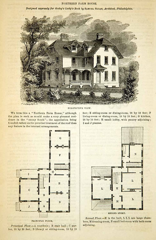 Amazon com: 1862 Wood Engraving Victorian Farm House