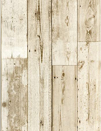 Haokhome 18119 3 Faux Distressed Wood Plank Wallpaper Peel And Stick Off White Pale Brown 17 7 X 9 8ft Self Adhesive Amazon Com