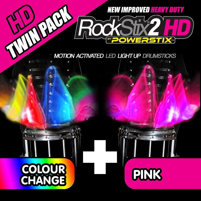 Twin Pack – ROCKSTIX2 HD luz LED Up baquetas, 1 Pair COLOUR CHANGE ...