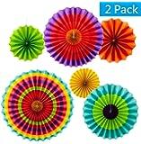 "2 set of 6 Vibrant Bright Colors Hanging Paper Fans Rosettes Party Decoration 8"" 12"" 16"" Various Sizes"