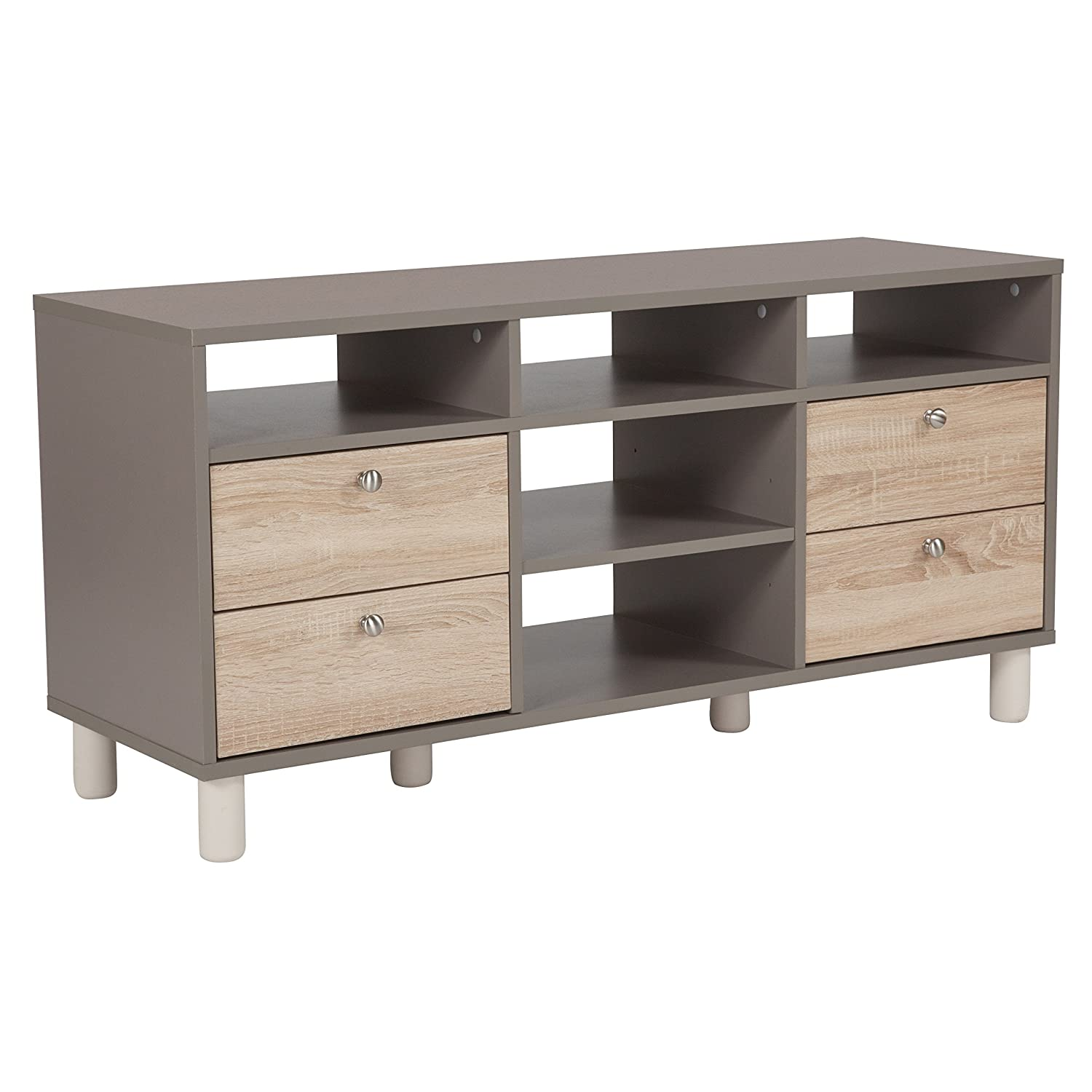Amazon com flash furniture montclair collection tv stand in gray finish with sonoma oak wood grain drawers kitchen dining