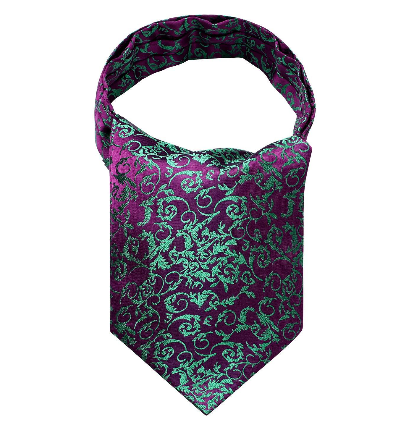 HISDERN Mens Floral Jacquard Woven Self Cravat Tie Ascot