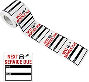 150 PCS Oil Change Auto Maintenance Service Due Reminder Stickers Labels in Roll with Perforation Line(Each Measures 2 X 2inch, Black)