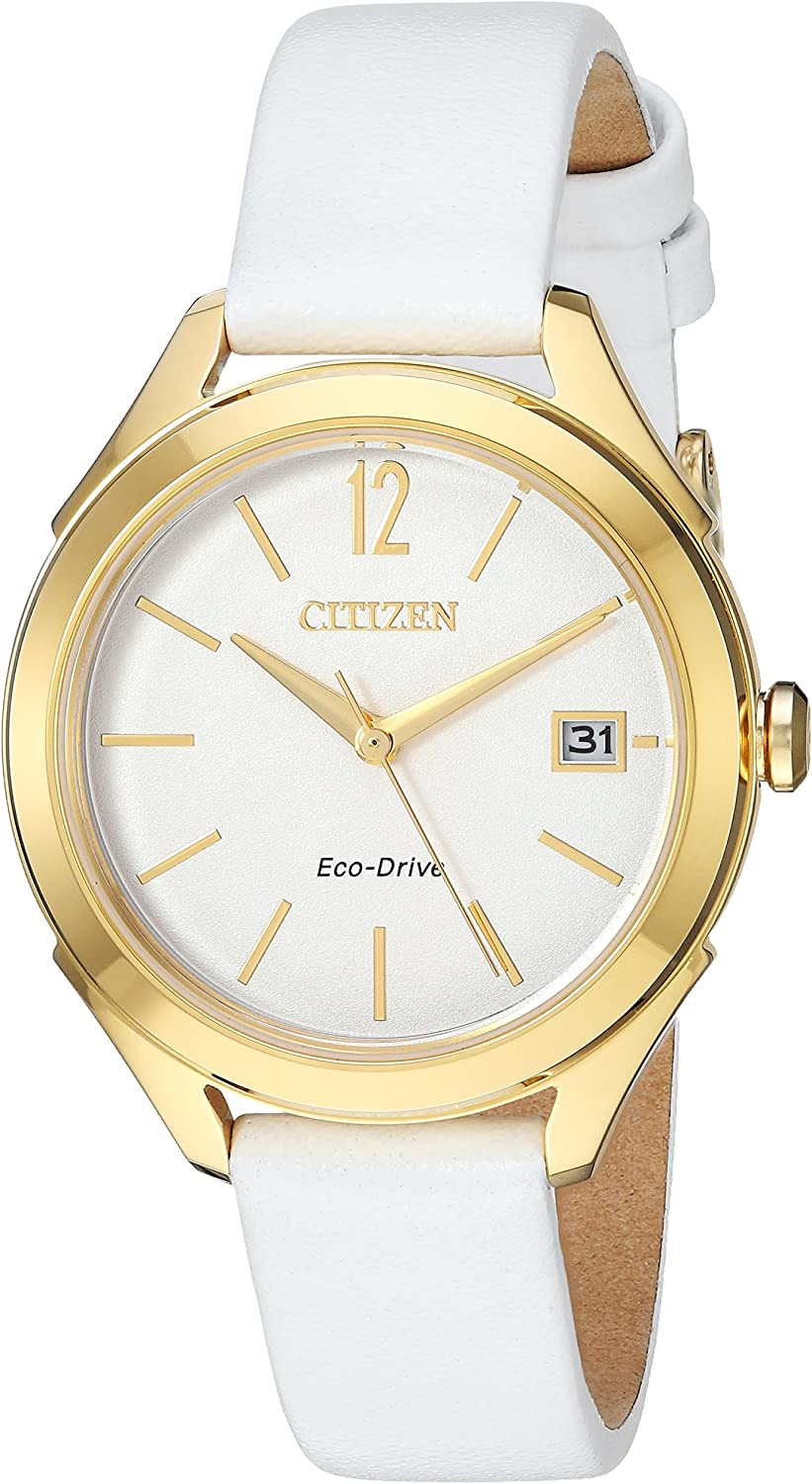 Citizen Women s Drive Stainless Steel Japanese-Quartz Watch with Leather Calfskin Strap, White, 14 Model FE6142-08A