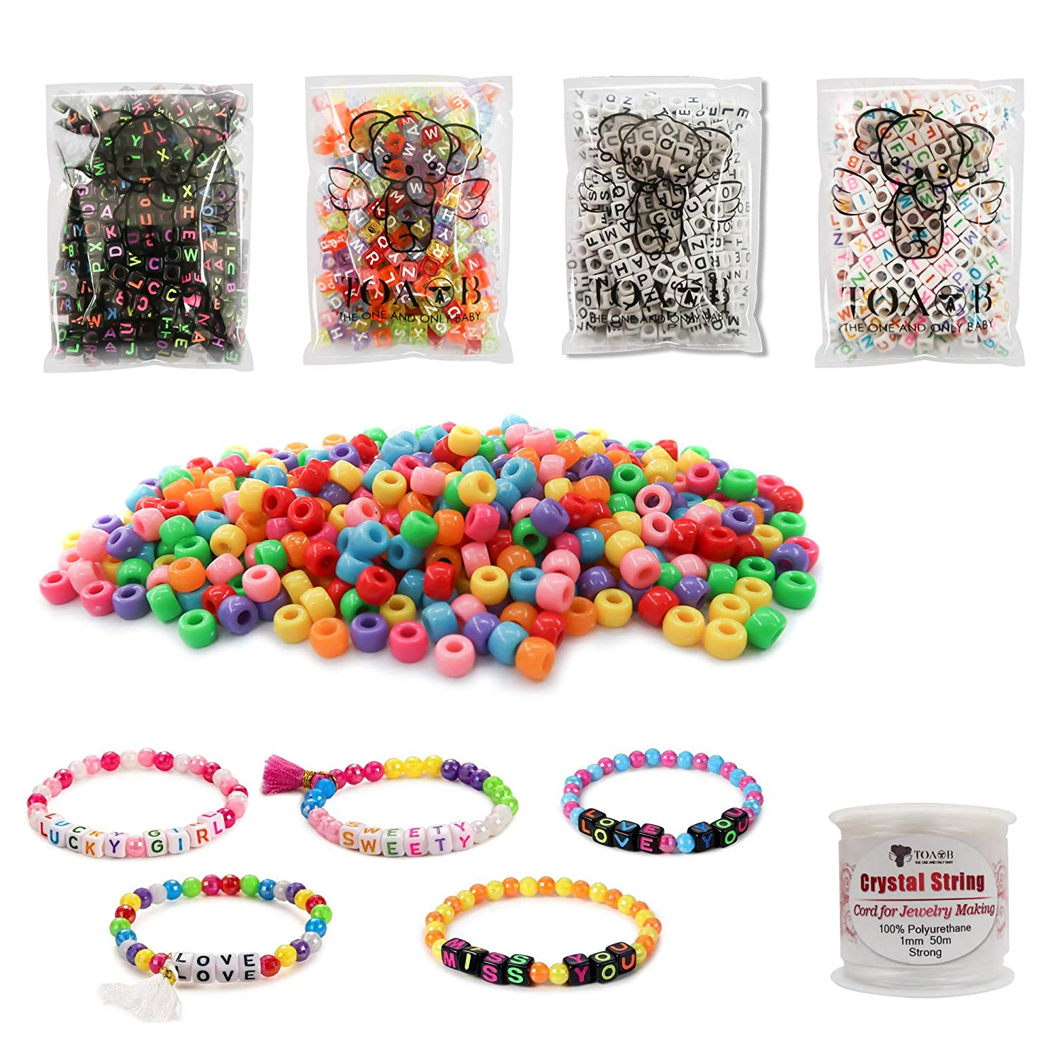 TOAOB 1200pcs Assorted Color Acrylic Alphabet Letter Beads and Pony Beads Combination Kit with Crystal Wire for Kids Handmade DIYy Jewelry Making DE-toaobCXSQ0003-1set