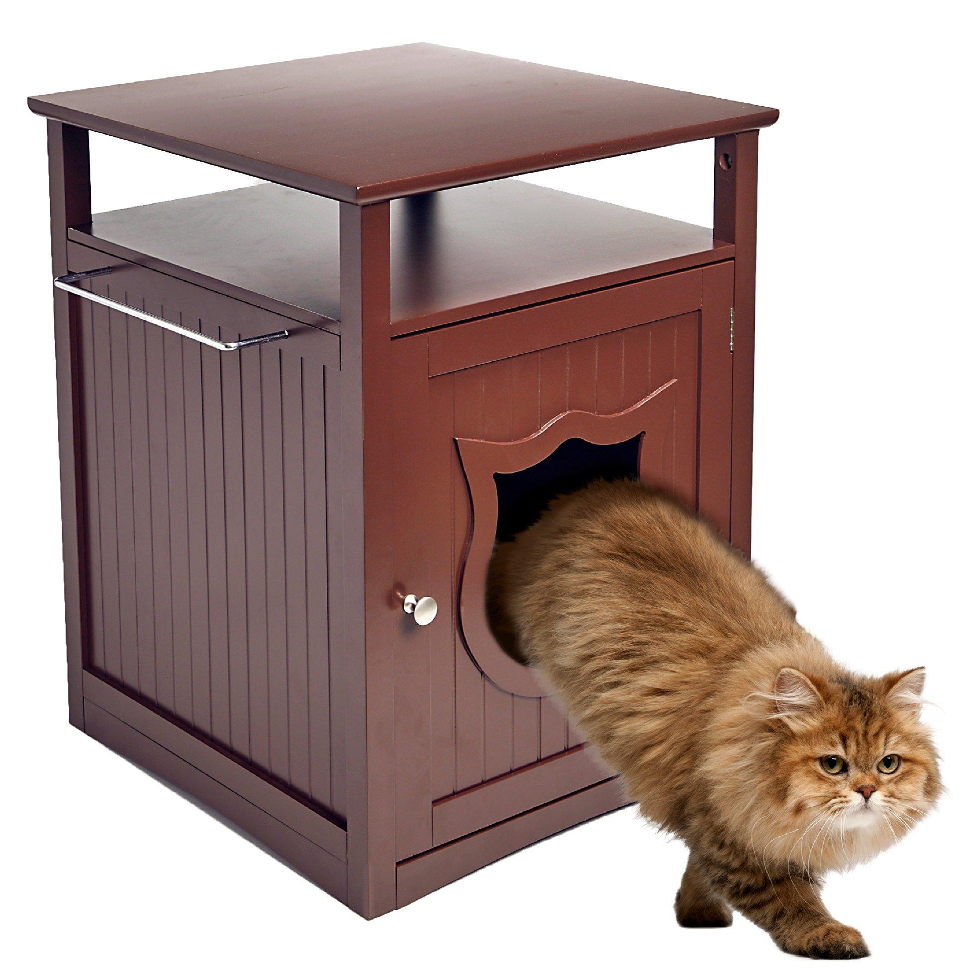 Pet Hup Hup Kitty Cat Thunder Box Nightstand Pet House/Cat Litter Box Cover CHERRY