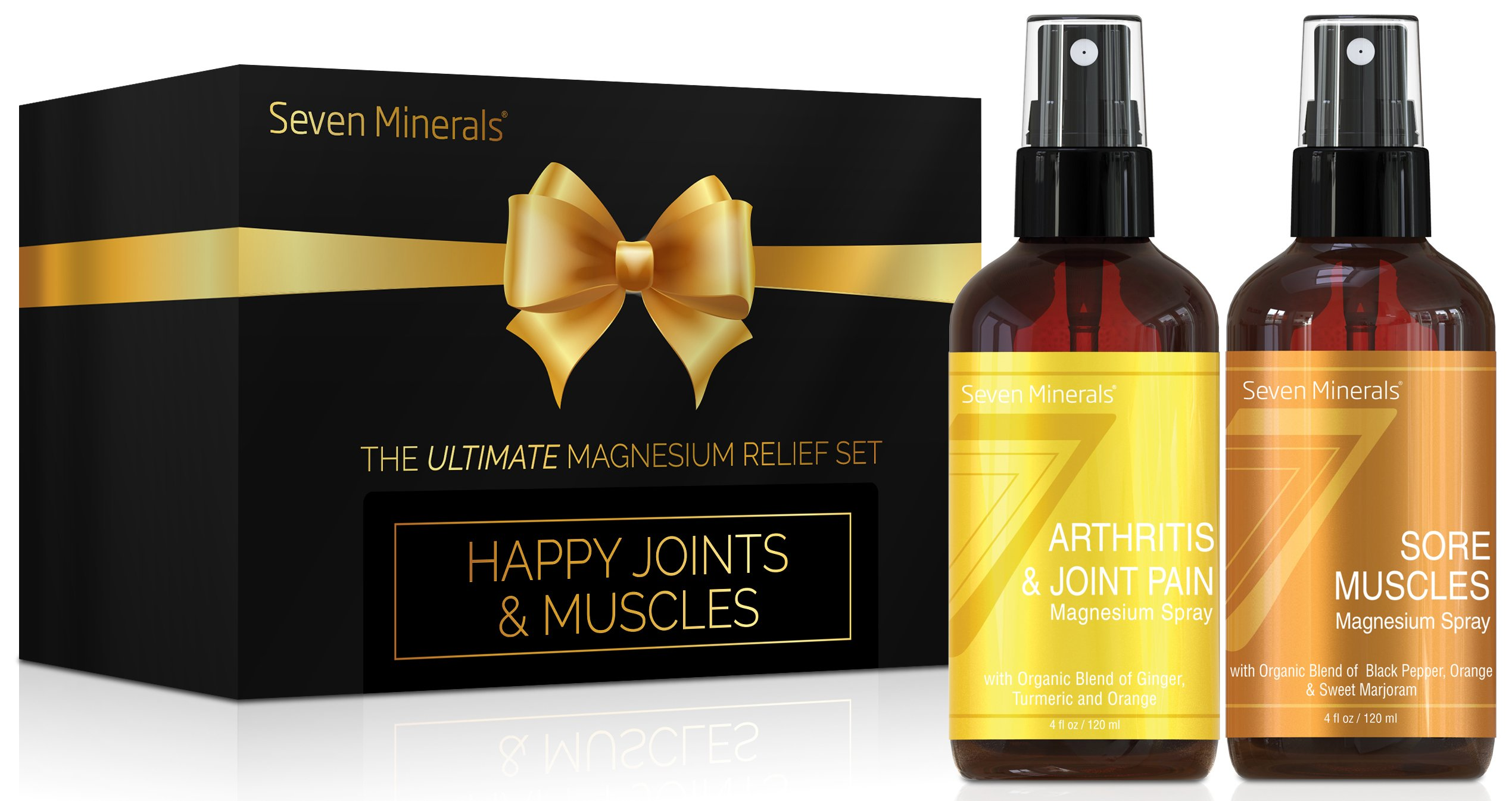 Seven Minerals Happy Joints & Muscles Gift Pack Gifts Set with Two Supportive Magnesium Oil Sprays: Arthritis & Joint Pain + Sore Muscles. Pure Magnesium Chloride with USDA Organic Essential Oils