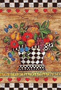 Toland Home Garden Checkerboard Bouquet 12.5 x 18 Inch Decorative Vegetable Fruit Potted Harvest Heart Garden Flag