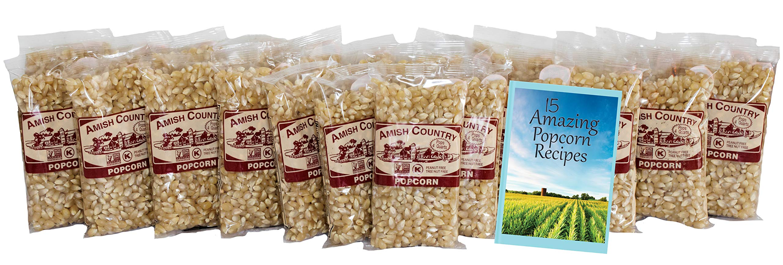 Amish Country Popcorn - Medium White Popcorn (4 Ounce - 24 Pack) Bags - Old Fashioned, Non GMO, and Gluten Free - with Recipe Guide by Amish Country Popcorn (Image #2)