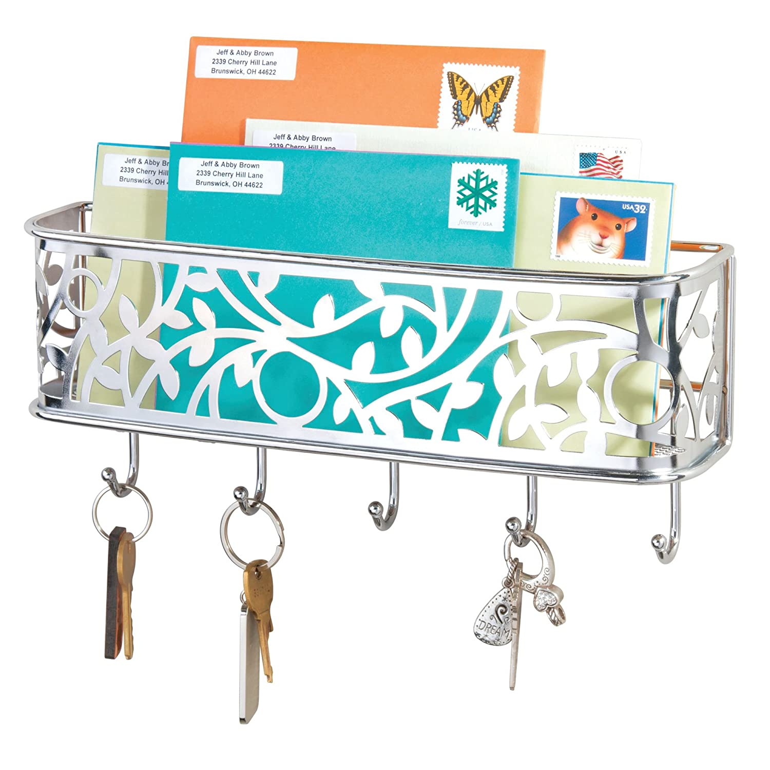 Mail, Letter Holder, Key Rack Organizer for Entryway, Hallway, Mudroom - Wall Mount, Chrome
