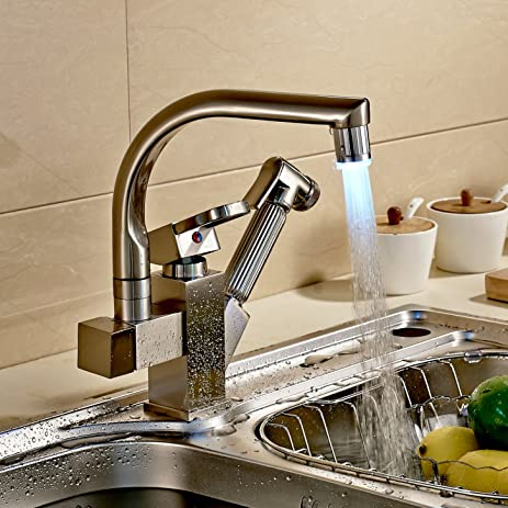 Rozinsanitary Brushed Nickel LED Swivel Spout Kitchen Sink Faucet ...
