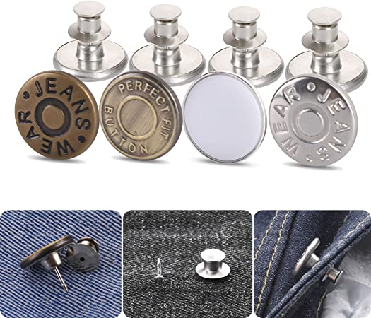 Button Pins for Jeans, Jean Button Pins Replacement for Pants Jeans Swing Crafts DIY, Fashion,Easy to Use and No Tools Require.