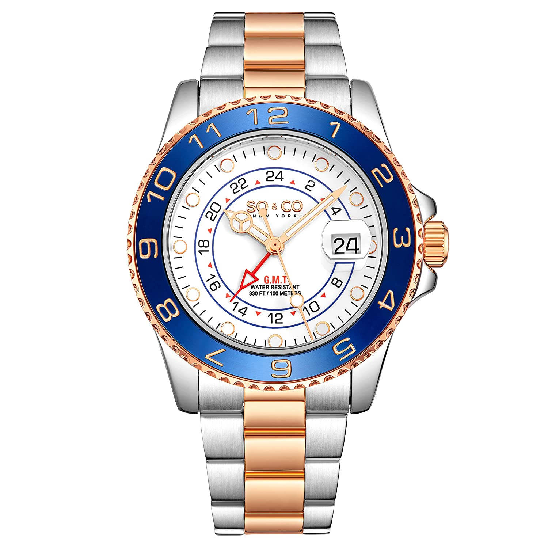 Amazon.com: SO & CO NY Hudson 5510 Mens Silver Pro Diver GMT Blue Bezel Stainless Steel Link Bracelet Date 10 ATM Quartz Dive Watch (Silver2): Watches