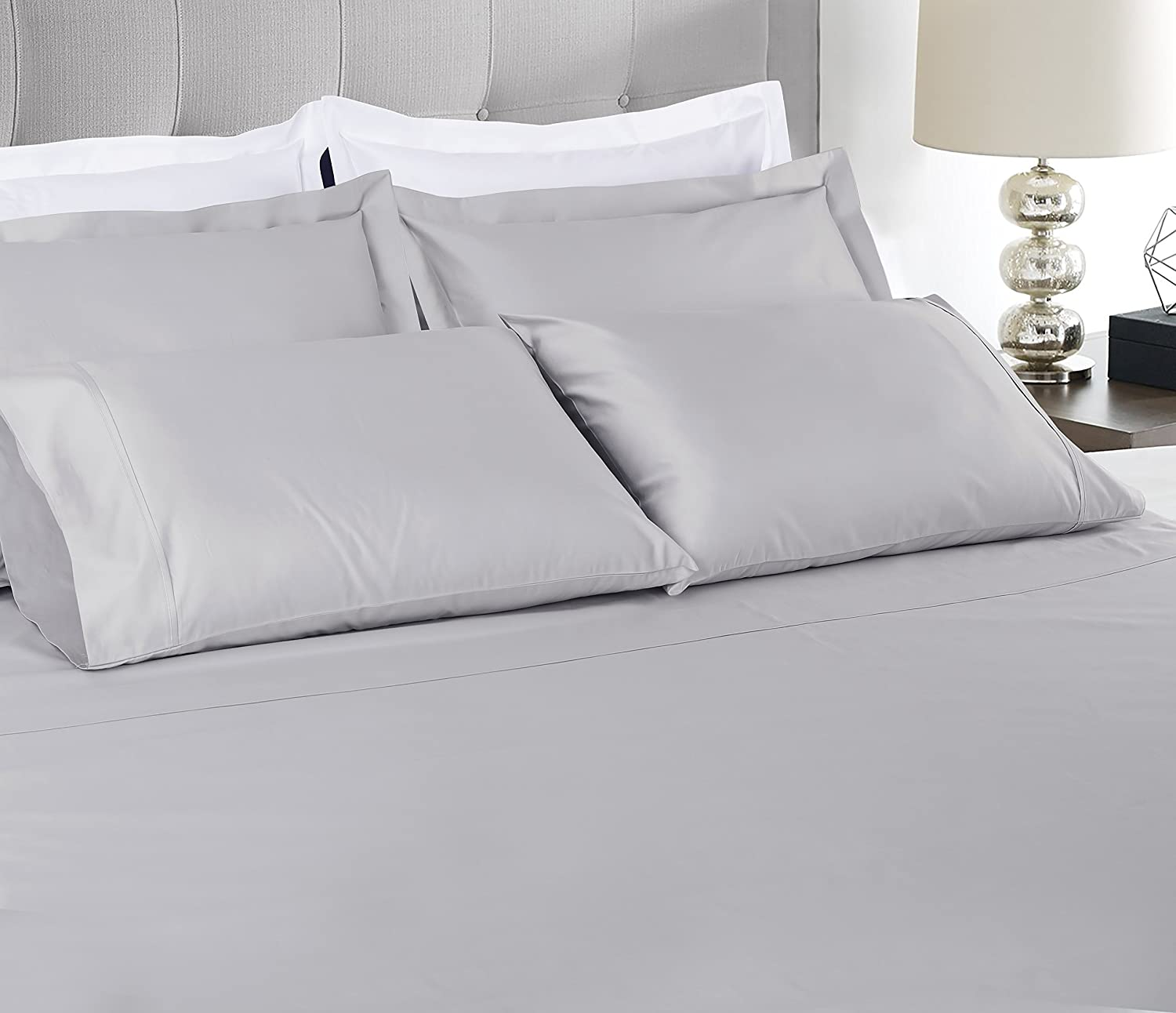 600 Thread Count 100% Extra-Long Staple Cotton Sheet Set,Twin XL Sheets, Luxury Bedding, Twin XL Sheets 3 Piece Set ,Smooth Sateen Weave,White, by Threadmill Home Linen