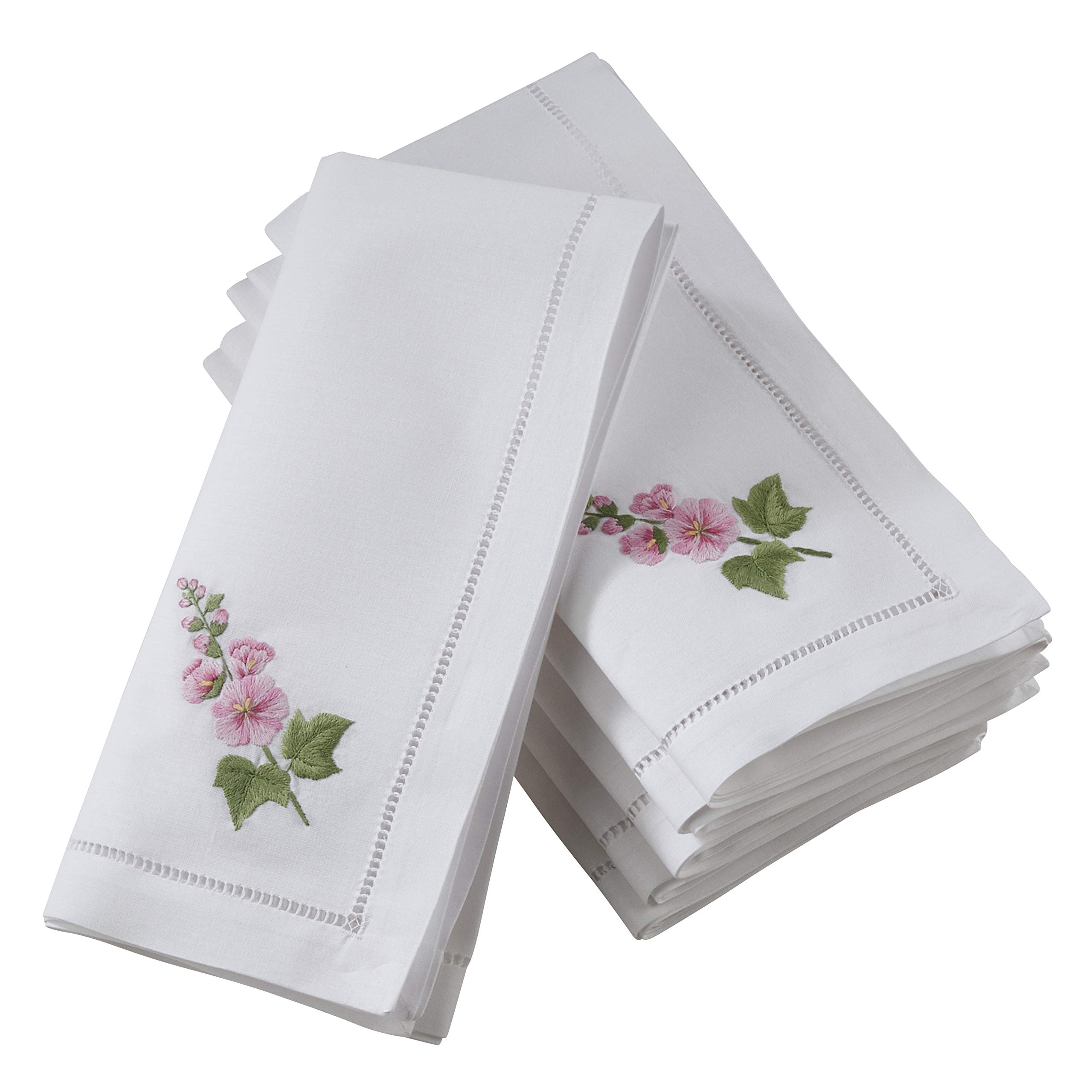 SARO LIFESTYLE NM138.W20S The Broderie Collection Embroidered Hollyhock Hemstitch Napkins (Set of 6) 20'',