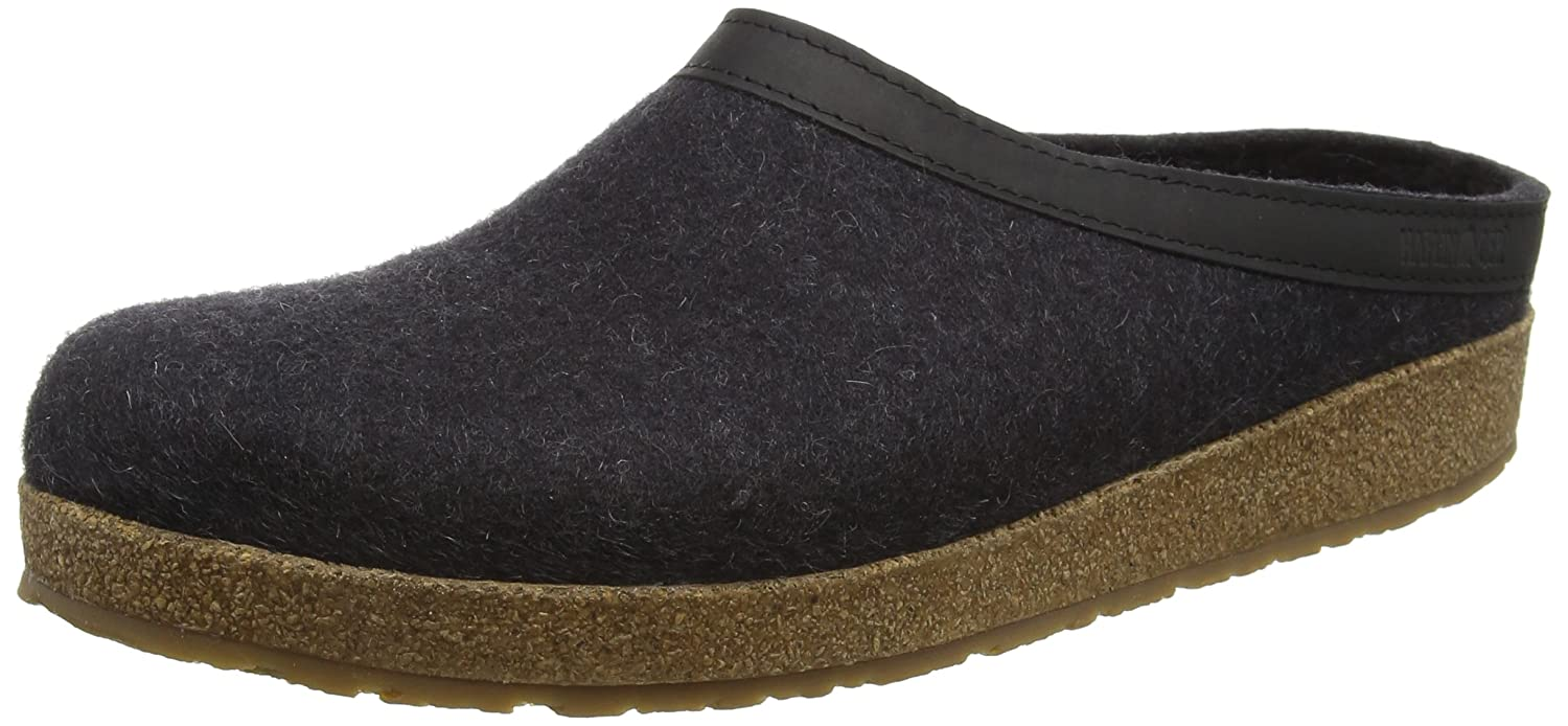 Charcoal Haflinger Unisex GZL Leather Trim Grizzly Clog