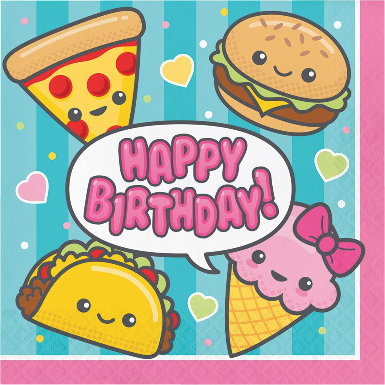 Club Pack of 192イエローとブラウンHappy Birthday Printed Junk Food Fun Luncheon Napkin 12.875