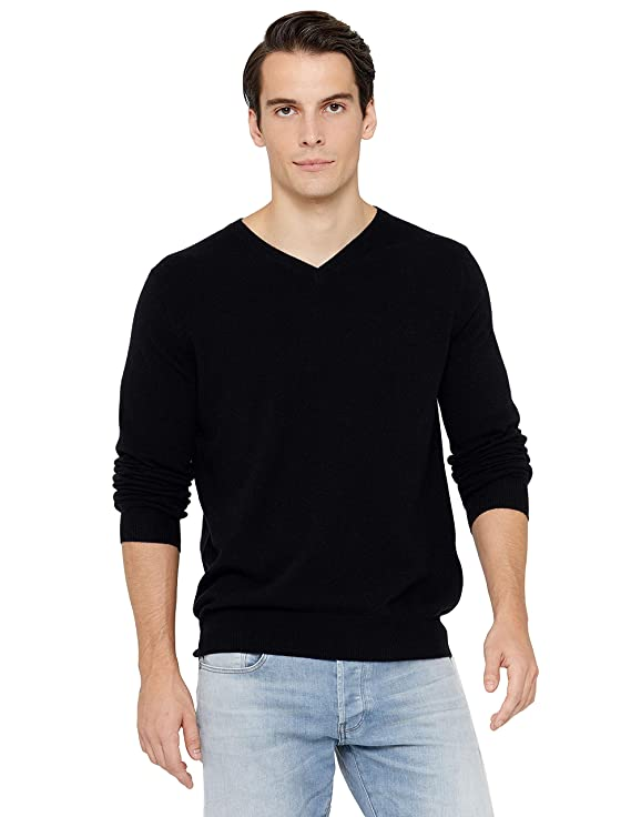 State Cashmere Men's Essential V-Neck Sweater 100% Pure Cashmere Classic Long Sleeve Pullover (Large, Black) best men's sweaters