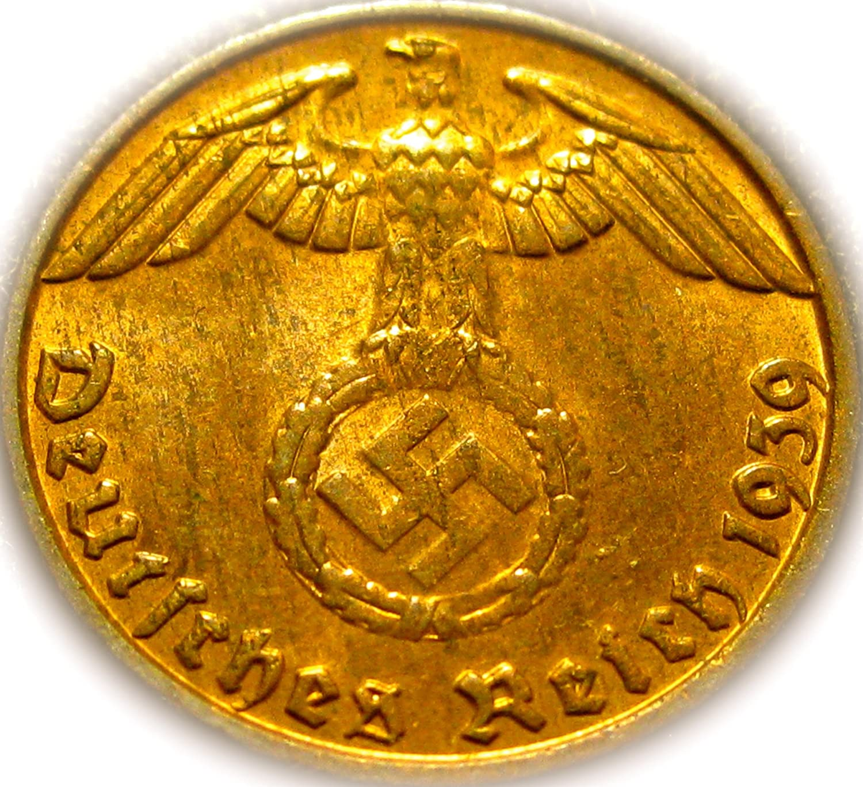 1939-bドイツThird Reich 1 Pfennig Swastikaコイン   B004E4M5KG
