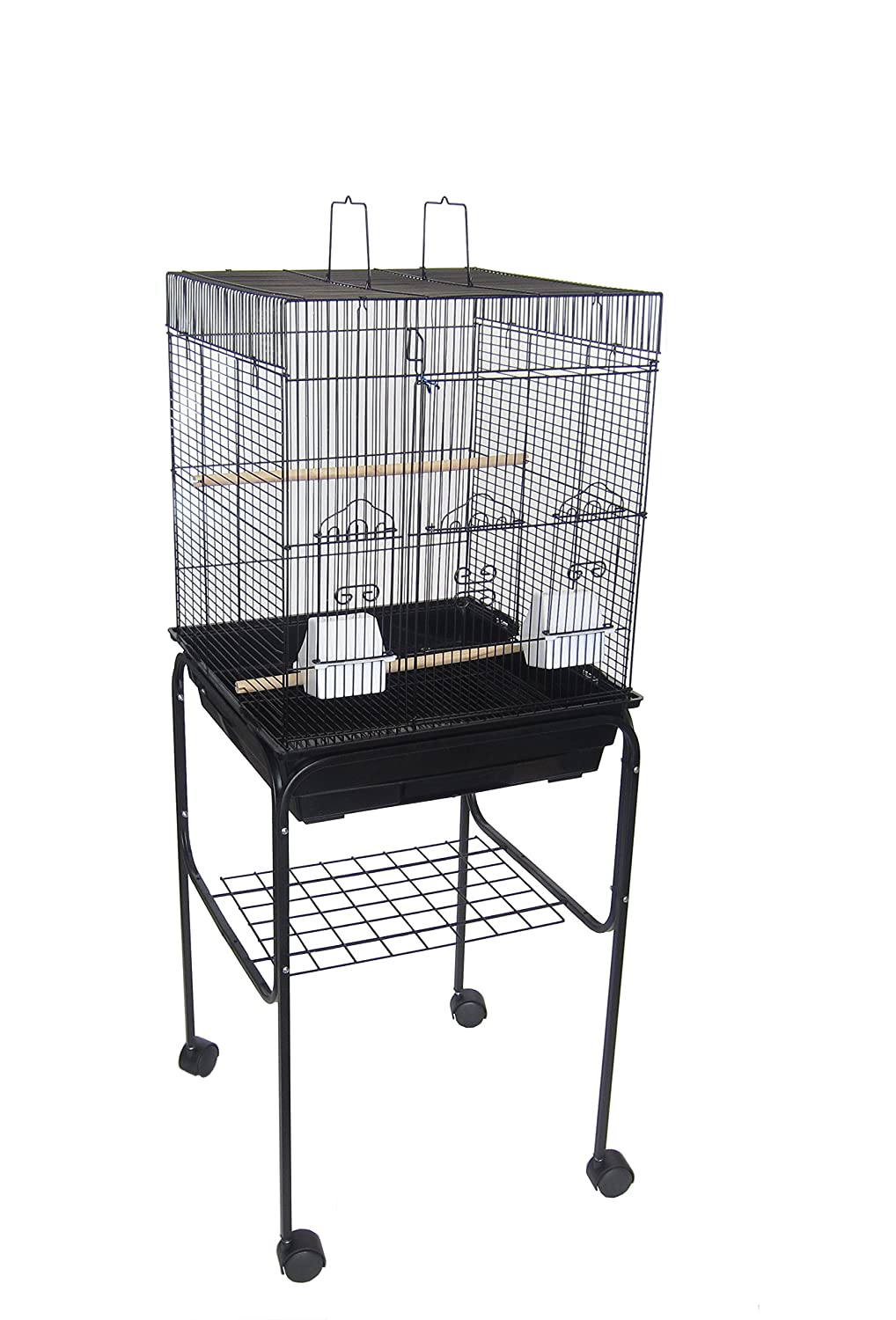 Yml 5924 3/8-Inch Bar Spacing Flat Top Small Bird Cage with Stand-18-Inch X18-Inch in Black 5924_4814BLK