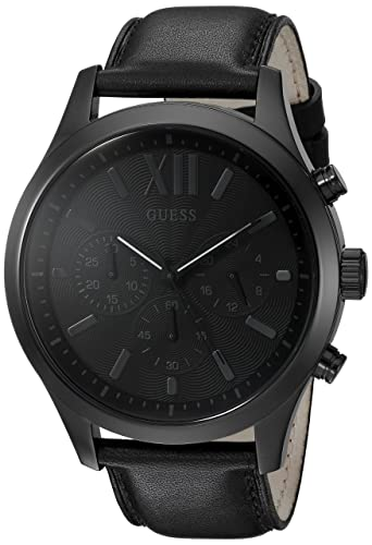 GUESS Smooth Genuine Leather Chronograph Watch with Date. Color Black Model U0789G4