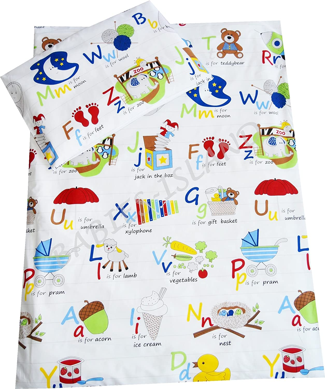 Babies-Island A 2 Piece Bedding Set Pillowcase+Duvet Cover For Baby Toddler To Fit Cot/Cot Bed - ALPHABET (120x150 cm)