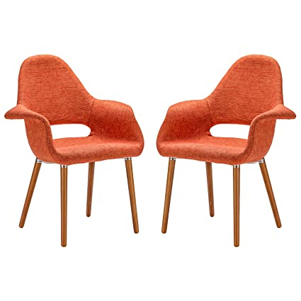 Captivating Poly And Bark Organic Arm Chair, Orange, Set Of 2