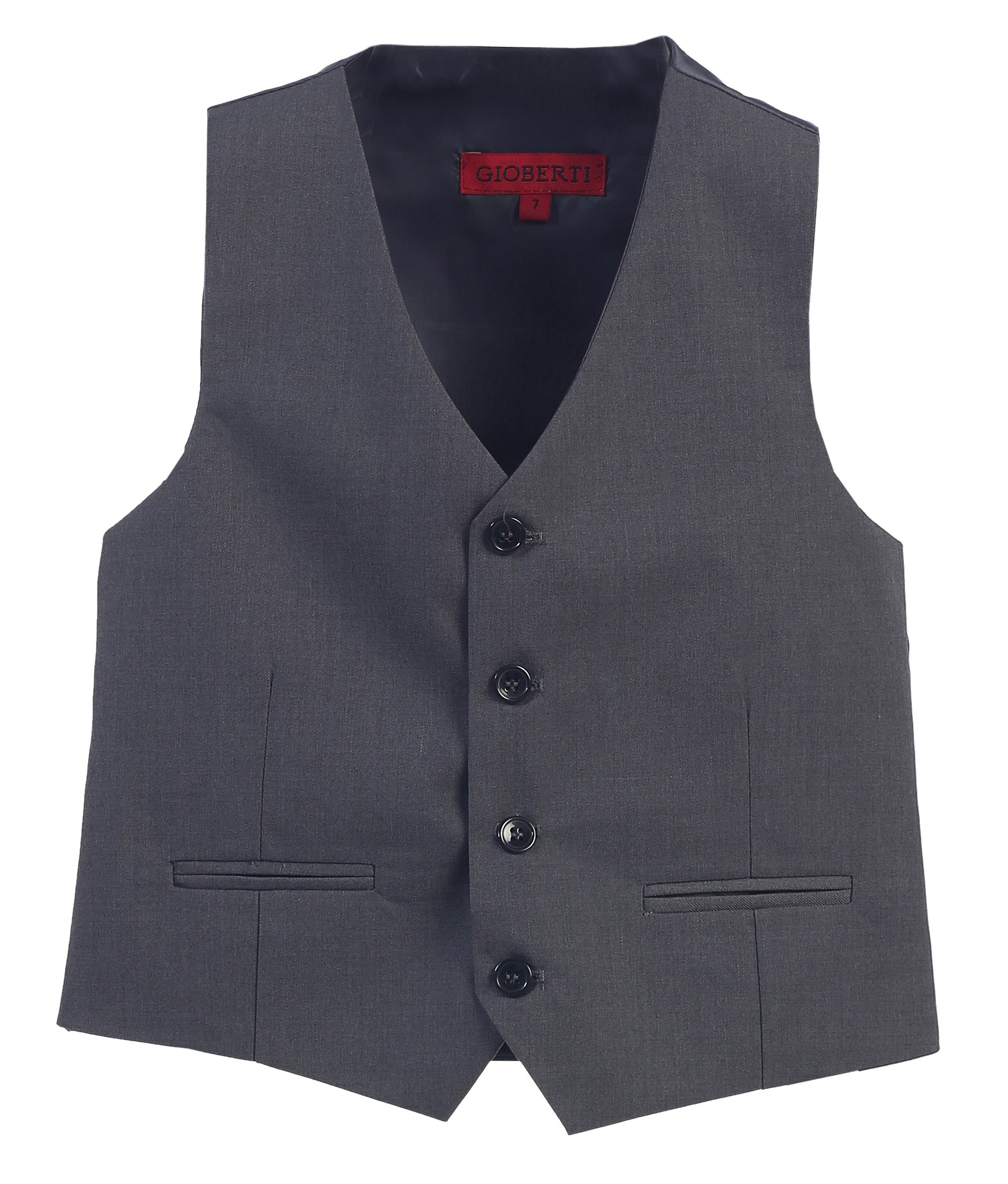 Gioberti Boy's 4 Button Formal Suit Vest, Charcoal, Size 7