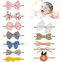 Comius Sharp 12 Piezas Bebé Diadema Pelo Cintas, Elásticas Diademas Niñas Súper Elásticas Suaves Nudo de Bebé Turbante…