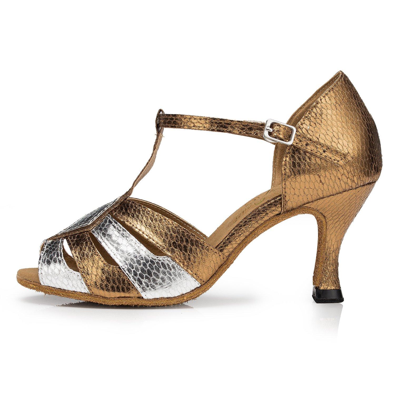 Aaron Womens Peep Toe Mid Heel PU Salsa Tango Latin Monk Strap Dance Sandals