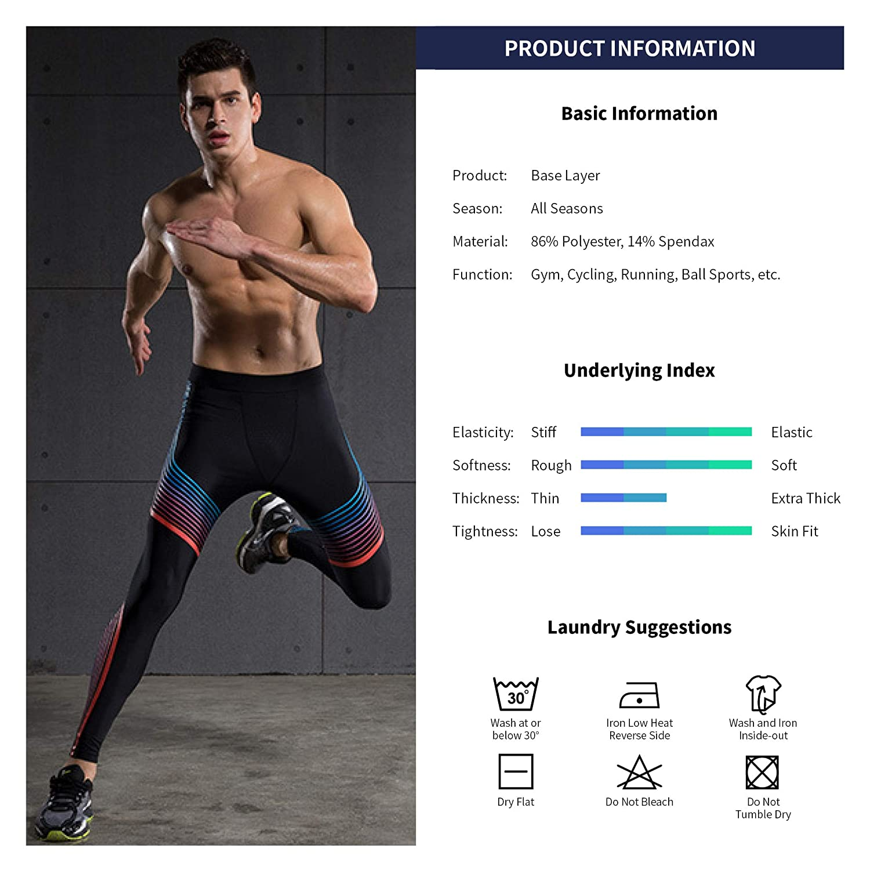 Hivexagon Sports Compression Strumpfhosen Cool Dry Baselayer Leggings Pro Schulung Pants Herren Running f/ür f/ür Gymnastik Yoga Sport Running SM006