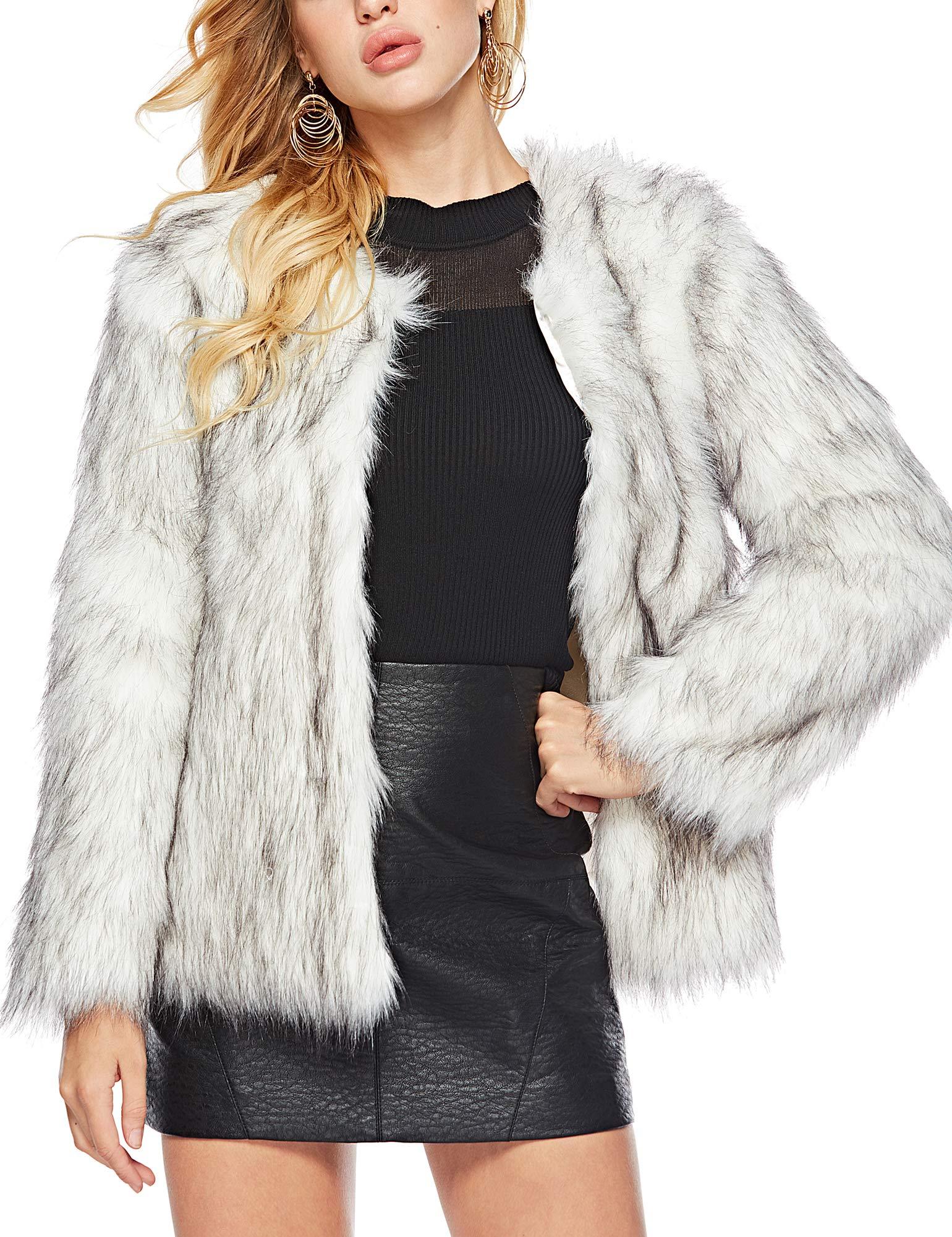 Caracilia Women's Vintage Winter Outwear Warm Shaggy Faux Fur Coat Jacket Luxury heibaijian S CAFB2