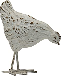 Foreside Home and Garden Rustic Antique White Metal Hen Figurine