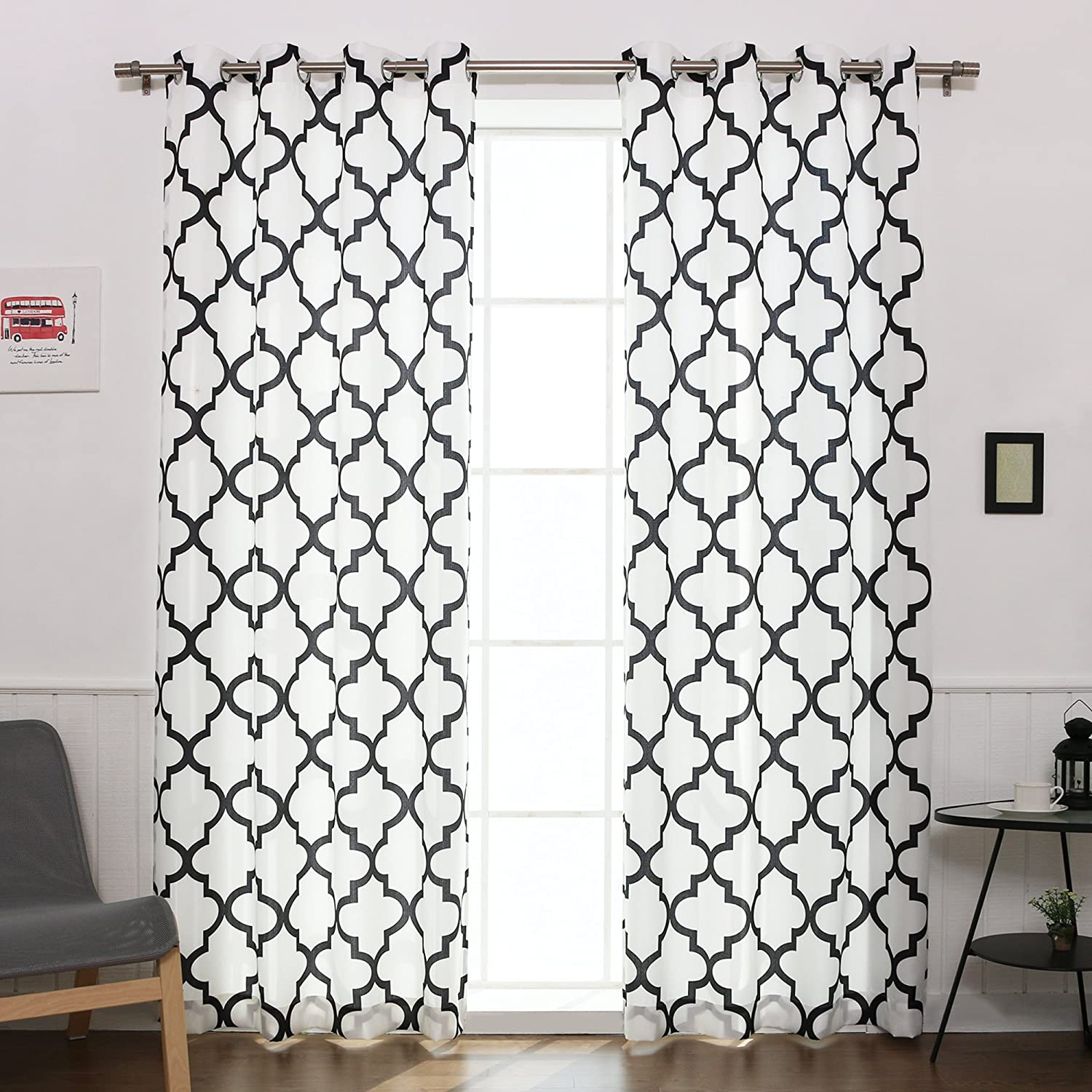 Oxford Basketweave Reverse Moroccan Print Curtains – Stainless Steel Nickel Grommet Top – Black