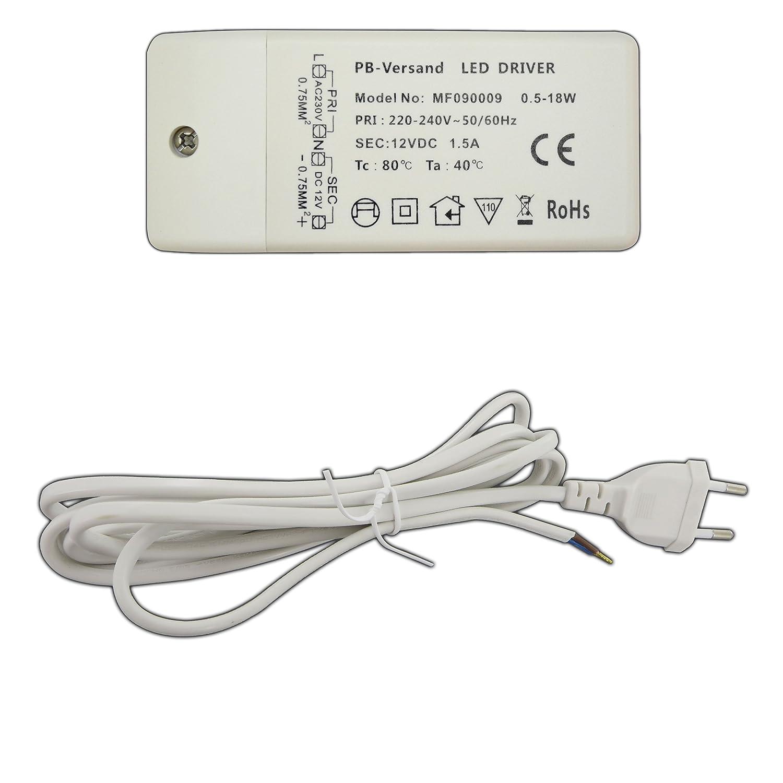 PB Versand - Trasformatore G4 DC per luce Led, da 12 V, 0,5-18 Watt. 18.00 wattsW, 12.00 voltsV PB-Versand®