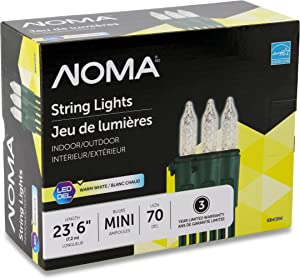 NOMA Premium Mini LED Christmas Lights   70 Warm White String Lights   Indoor & Outdoor  23.6-Foot Strand