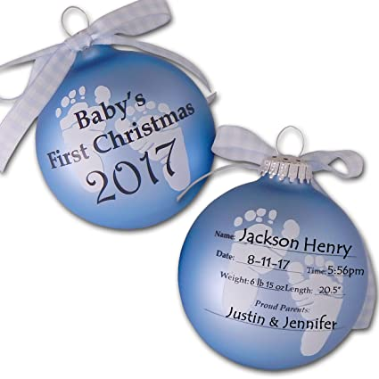 The Trendy Trutle 2018 Babys First 1st Christmas Keepsake Ornament Ball In Blue For Baby Boy
